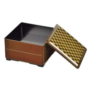 個々膳 角型二段重 市松 K6342 ゴールド