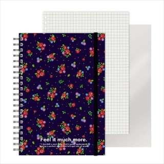[ノート]レフ板のついたリングノート(5mmグリッド罫方眼・A5・50枚・レフ版2枚)花柄 220416-74