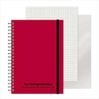 [ノート]レフ板のついたリングノートカラード(5mmグリッド罫方眼・A5・50枚・レフ版2枚)レッド 220417-05