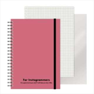 [ノート]レフ板のついたリングノートカラード(5mmグリッド罫方眼・A5・50枚・レフ版2枚)ピンク 220417-06