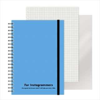 [ノート]レフ板のついたリングノートカラード(5mmグリッド罫方眼・A5・50枚・レフ版2枚)スカイブルー 220417-36