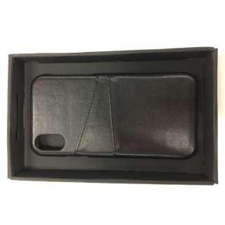 iPhoneX専用背面本革ケースブラック