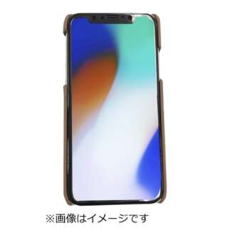 iPhoneX専用背面本革ケースブラウン