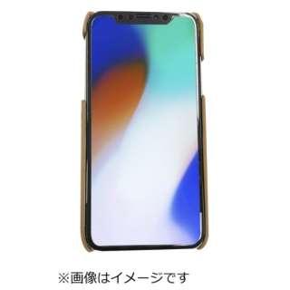 iPhoneX専用背面本革ケースライトブラウン