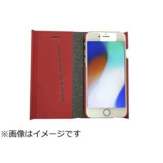 iPhone8専用 手帳型 ラウンドブックケースレッド