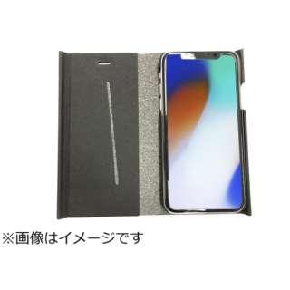 iPhoneX専用 手帳型 ラウンドブックケースブラック