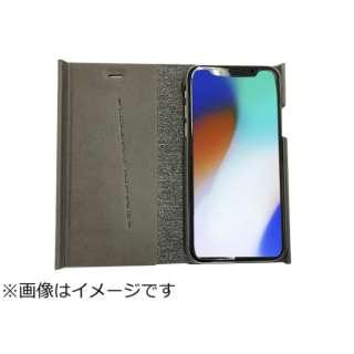 iPhoneX専用 手帳型 ラウンドブックケースグレイ