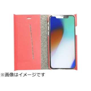 iPhoneX専用 手帳型 ラウンドブックケースレッド