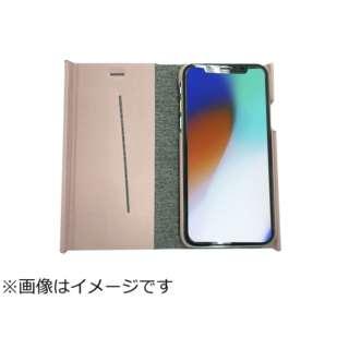 iPhoneX専用 手帳型 ラウンドブックケース ピンク