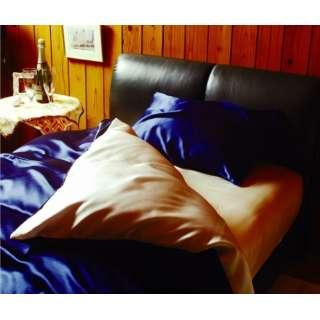 【敷ふとんカバー】シルク ダブルサイズ(145×210cm ブルー/ホワイト)