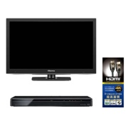 [new life support] Visual set B 24-inch liquid crystal TV +500GB recorder +HDMI cable three points set