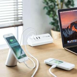 クランプ式USB充電器(TypeC1ポート+USB3ポート・ホワイト) ACA-IP51W