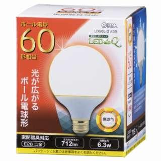 LDG6L-G AS9 LED電球 LEDdeQ ホワイト [E26 /電球色 /1個 /60W相当 /ボール電球形 /広配光タイプ]