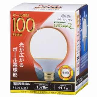 LDG11L-G AS9 LED電球 LEDdeQ ホワイト [E26 /電球色 /1個 /100W相当 /ボール電球形 /広配光タイプ]