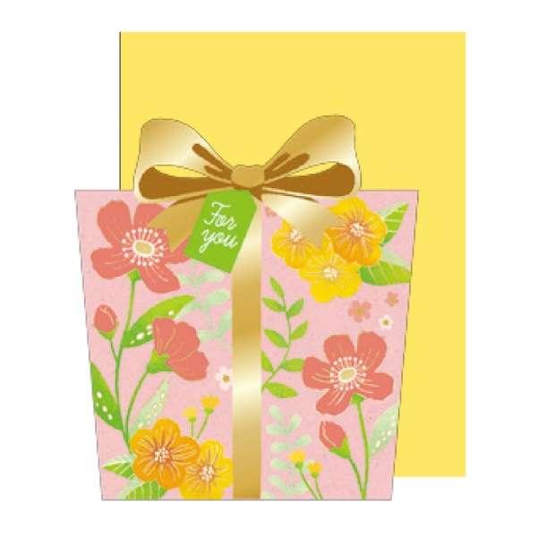 [グリーティングカード]ギフトボックスカード ピンク 1000090050