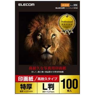 光沢写真用紙/印画紙特厚/高耐久/L判/100枚 EJK-ASL100 ホワイト