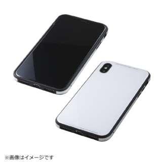 iPhoneX用 TPU+アルミ+ガラスケース ホワイト BKS-IPXUNC01WH