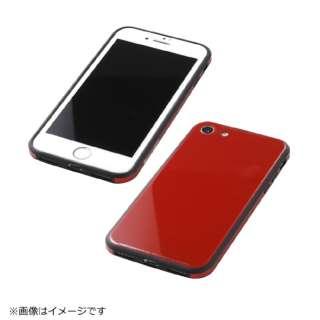 iPhone8用 TPU+アルミ+ガラスケース レッド BKS-IP8UNC01RD