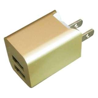 スマホ用USB充電コンセントアダプタ 2.4A (2ポート) BAC2U24SGD ゴールド