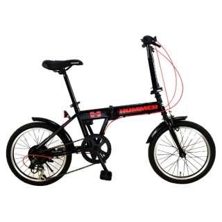 18型 折りたたみ自転車 HUMMER FDB186 IW-III(ブラック/6段変速) FDB186IW3 【組立商品につき返品不可】