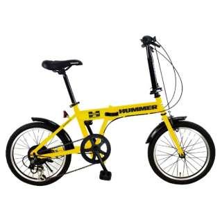 18型 折りたたみ自転車 HUMMER FDB186 IW-III(イエロー/6段変速) FDB186IW3 【組立商品につき返品不可】