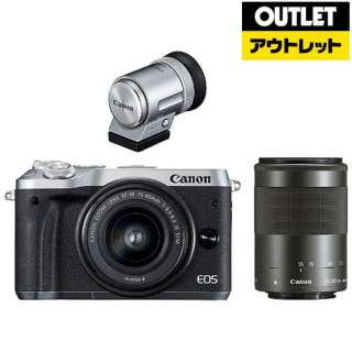 【アウトレット品】 ミラーレス一眼カメラ EOS M6 [ダブルズームレンズ+EVFキット] シルバー 【生産完了品】