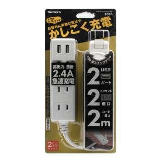Smart IC搭載 急速充電2.4A出力対応 USBポート付き OAタップ(2ポート+コンセント2個口・2m) OWL-OTA2U2S20-WH ホワイト