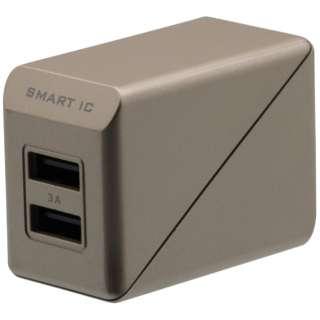 スマホ用USB充電コンセントアダプタ 3A (2ポート) OWL-ACU2F3S-GO ゴールド