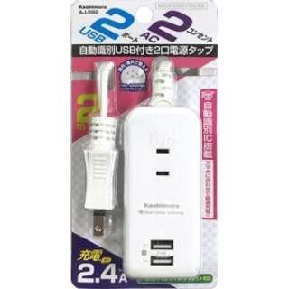 AC充電器タップ 2.4A IC(2個口+USB2ポート・2m) AJ592 ホワイト