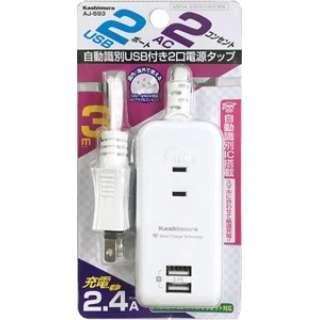 AC充電器タップ 2.4A IC(2個口+USB2ポート・3m) AJ593 ホワイト