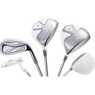 レディース ゴルフクラブ Tiara MODA 6本セット ホワイト《Tiara MODA オリジナルカーボンシャフト》L