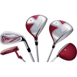 レディース ゴルフクラブ Tiara MODA 6本セット レッド《Tiara MODA オリジナルカーボンシャフト》L