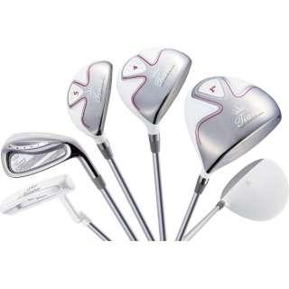 レディース ゴルフクラブ Tiara MODA 8本セット ホワイト《Tiara MODA オリジナルカーボンシャフト》L