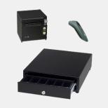AirレジBセット(黒) レシートプリンター RP-D10-K27J2-B/キャッシュドロア DRW-A01-K/バーコードリーダー CX2870-1409-GRAY