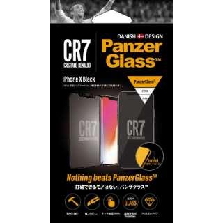 PanzerGlass(パンザグラス) iPhone XS / X Black CR7ロゴ 衝撃吸収 全画面保護 ラウンドエッジ ダブル強化ガラス 4層構造