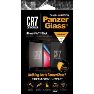 iPhone 6/6s/7/8用 PanzerGlass(パンザグラス)Jet Black CR7ロゴ 衝撃吸収 全画面保護 ラウンドエッジ ダブル強化ガラス 4層構造