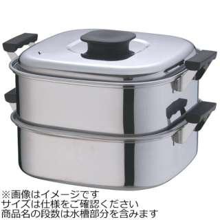 《IH対応》 桃印18-0角型蒸器 29cm 2段 <AMS69292>