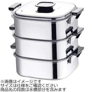 《IH対応》 桃印18-0角型蒸器 27cm 3段 <AMS69273>