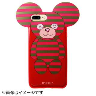iPhone 8/7 Plus TPU Teddy Pink Stripes 14462 ピンク