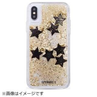 iPhone X TPU Liquid Black Stars 14568 ゴールド