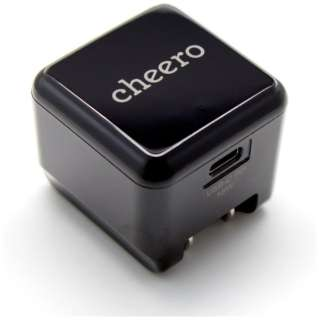 [Type-C給電]スマホ用USB充電コンセントアダプタ Type-C充電器  3A cheero ブラック CHE-324 [1ポート /USB Power Delivery対応]