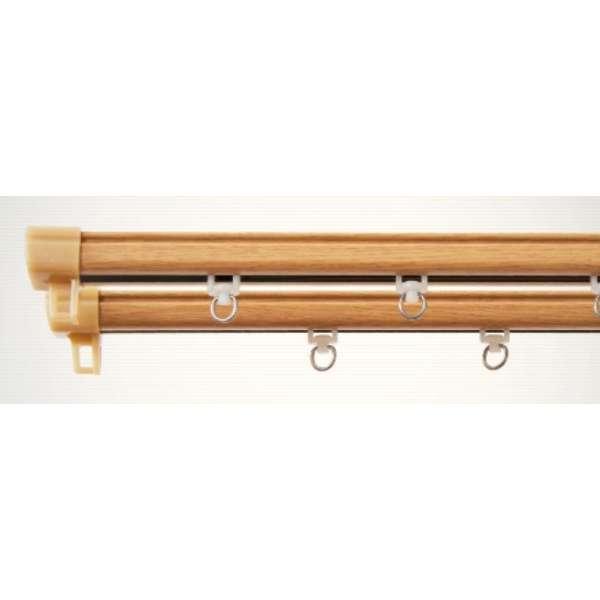 静音角型木目レール 1m用(60-100cm) シングル ナチュラル