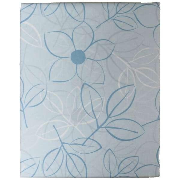 【ボックスシーツ】綿ローン リーフ シングルサイズ(綿100%/100×200×30cm/ブルー)【日本製】