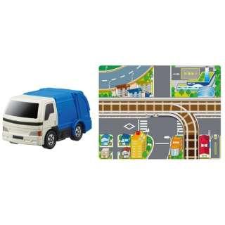 おふろDEミニカー ミニマップ付き ごみ収集車(青/緑)