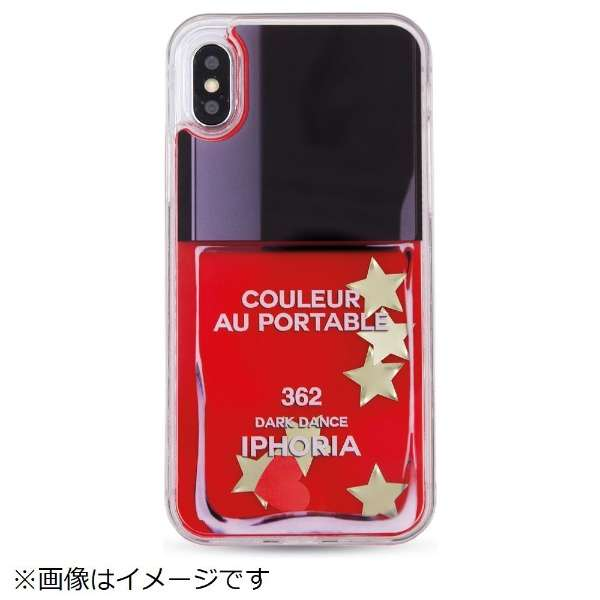 iPhone X TPUケース Liquid Case Nailpolish StarsGlitter 14980 レッド
