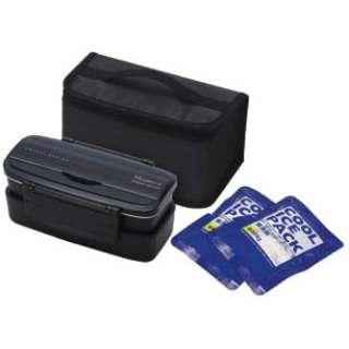 モダンプラス 保冷材バッグ付きタイトランチBOX2段900ml BK KCPOW5T ブラック