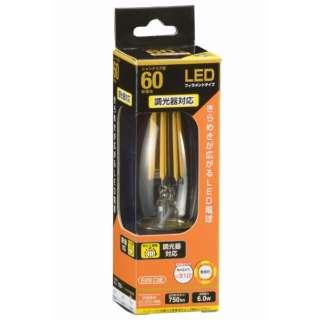 LDC6L/D C6 LEDフィラメント電球 クリア [E26 /電球色 /1個 /60W相当 /シャンデリア電球形 /全方向タイプ]