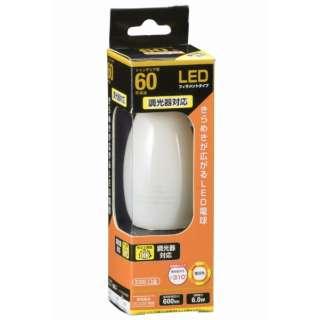 LDC6L/D W6 LEDフィラメント電球 ホワイト [E26 /電球色 /1個 /60W相当 /シャンデリア電球形 /全方向タイプ]