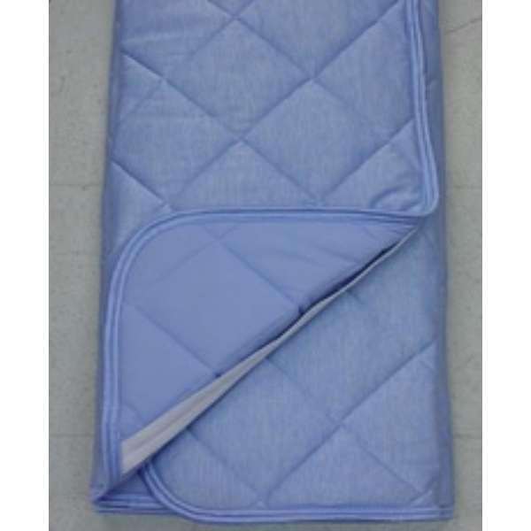 【涼感パッド】冷感霜降り 裏ニットワッフル敷パッド シングルサイズ(100×205cm/ブルー)