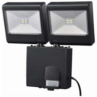 【屋外用】ソーラー式LEDセンサーライト(2灯4W) LS-SH2D-4K LS-SH2D4-K ブラック